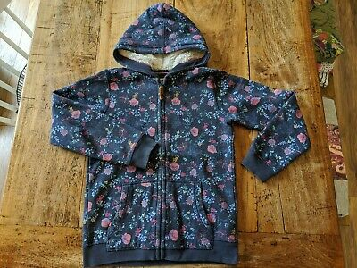 Fat Face 10-11 yrs Navy Pink Floral Butterfly Zip Through Hoodie Hooded Jumper