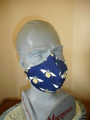 COTTON FACE MASKS WITH FILTER, HAND-MADE IN THE UK, designer fabric- bees (navy)