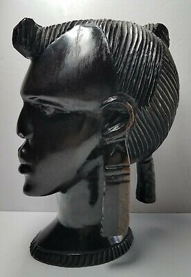 Vintage c1970's Life-Sized Carved Ironwood Bust Female Beauty Ghana West Africa