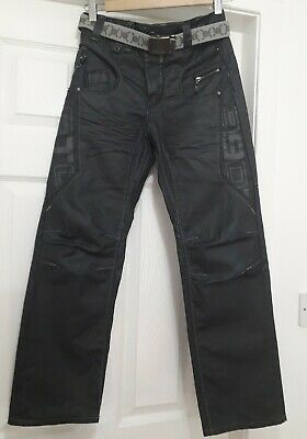 Eto Jeans Boys Youths 26W X 27L Belted Coated Surface Very Dark Wash