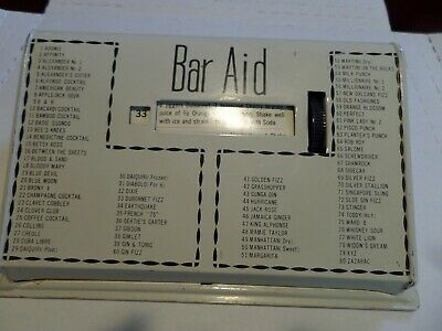 Vintage metal 1960's Drink recipe Bar Accessory for 80 Alcoholic Drinks