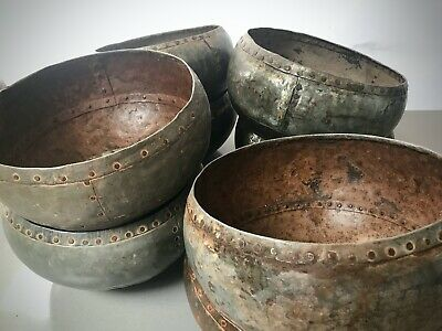 Vintage Indian Metal Riveted Water Pot, Or Bowl. Hand Beaten. Garden Planter?