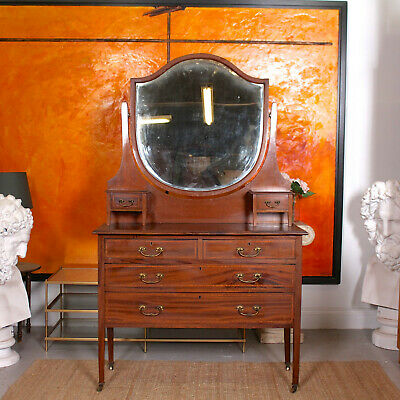 Antique Edwardian Dressing Table Chest of Drawers Inlaid Mahogany Shield Mirror
