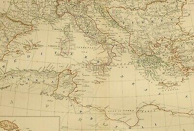1873 Hand Coloured Map Basin Of The Mediterranean Italy Maltese Islands Turkey