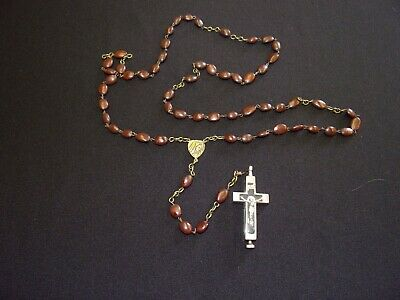 Vintage Reliquary Cross Rosary Crucifix Relic Hinged Compartment Franzisk MORE