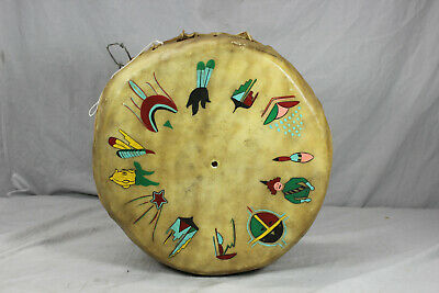 "Handmade Wood and Leather Drum - 13.5"" x 5.75"""