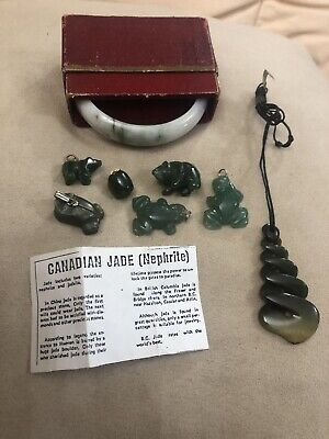 Rare Top Quality Canadian Nephrite Jade Charms Chinese Bangle & Necklace