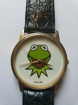 Vtg 1987 KERMIT THE FROG Jim Henson MUPPETS Watch WORKS! With Extra Battery