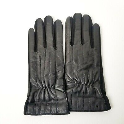 Page One womens leather gloves medium black winter driving dress open box