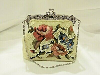 Victorian Trading Co Beaded /& Brass Pansy Floral Evening Bag Purse 13E