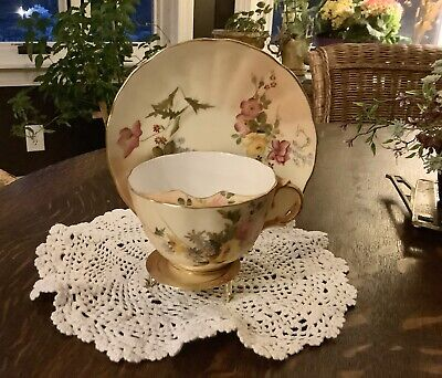 Antique 1847 Royal Worcester England Hand Painted Mustache Cup And Plate