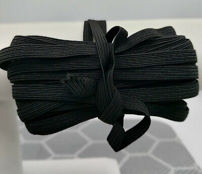 "10 Yards 1/4"" Flat Black Elastic Band For Diy Face Mask Best Quality Usa Stock"