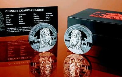 2017 Palau 2 x 2 oz Silver $10 Chinese Guardian Lions Proof coin Set