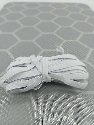 "10 Yards 1/4"" 6mm Elastic - White - For DIY Face Mask - FREE SHIP USA STOCK"
