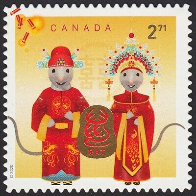 DIE CUT = RAT LUNAR NEW YEAR = 2.71 INTERNATIONAL RATE BK STAMP MNH Canada 2020