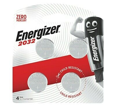 Energizer 2032 - 4 PACK 3V Lithium Coin/Button Cell Batteries  Zero Mercury NEW