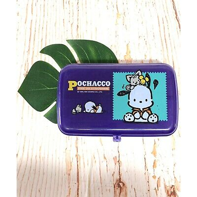 Vintage Sanrio Pochacco 1995 Plastic Pencil Case Tricket School Box Kawaii