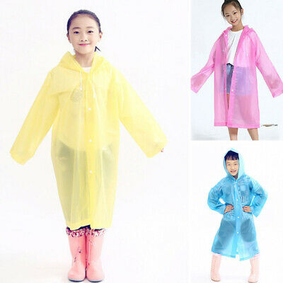 Kids Raincoat Poncho Cape Unisex Girls Boys Outdoor Jacket See through