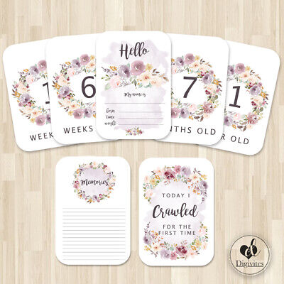 Baby Girl Milestone Cards, Floral Boho Photo props, Pink, 40 cards, 250gsm