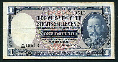 Straits Settlements 1 dollar 1931.01.01. King George V & Tiger P16a VF-