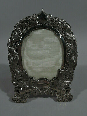 Export Frame - PIcture Photo Antique Asian China Trade Dragon - Chinese Silver