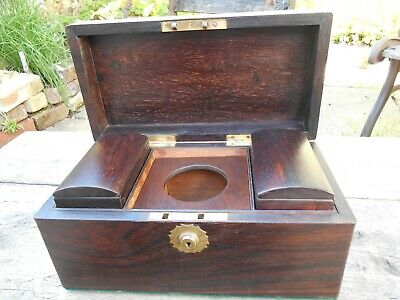 Victorian mahogany tea caddy with 2 hinged lid tea cannister inserts