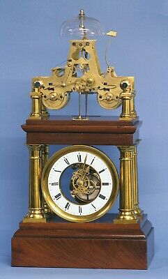 Rare  c.1880 French Portico Clock with Turret Form Movement.