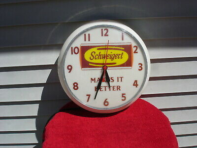 Vintage Schweigert Meat Company Large Advertising Electric Wall Clock. Nice!!!
