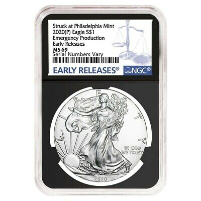 2020 (P) 1 oz Silver American Eagle NGC MS 69 ER (Retro) Emergency Production