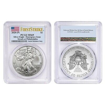 Lot of 2 - 2020 (P) 1 oz Silver American Eagle PCGS MS 69 FS Emergency Issue