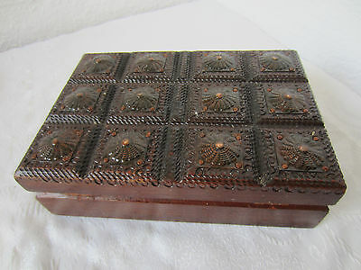 Ornate hand carved  wooden box  ART wood  carving