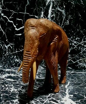 Hand Carved Wood Elephant With Tusks