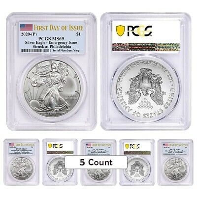 Lot of 5 - 2020 (P) 1 oz Silver American Eagle PCGS MS 69 FDOI Emergency Issue