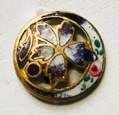 Antique French Button Champleve Enamel Pierced Purple Floral Hand Painted Rose