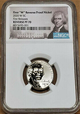 2020 First W Reverse Proof Nickel, Ngc Rev Pf70, First Releases, Jefferson Label
