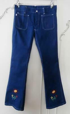 """BN Vintage Early 1970s Kids' Embroidered Denim Flared Jeans 29-30"""" Hip Deadstock"""