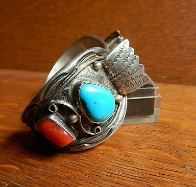 Navajo Sterling Silver Red Coral Turquoise Watch Cuff Bracelet JM James Mason