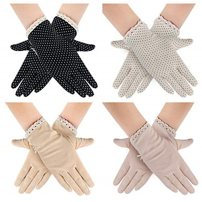 4 Pairs Summer Women Dots Sun Uv Protection Gloves Cotton Lace Driving Gloves
