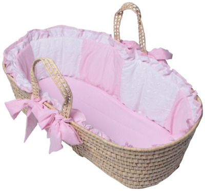 Baby Doll Bedding Gingham Moses Basket, Pink
