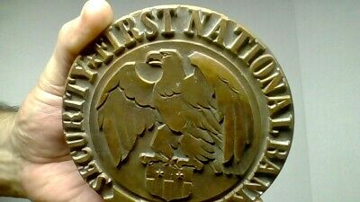 Antique Security First National Bank Brass Emblem 1871