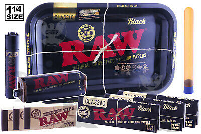 RAW BLACK 10pc Ultimate Kit-Tray+1.25 Papers+Lighter+Tips+Rolling Machine+Tube