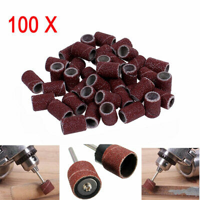 "100PCS 1/4"" Sanding Bands Sleeves With 2 Drum Mandrel Dremel For Rotary Tool"