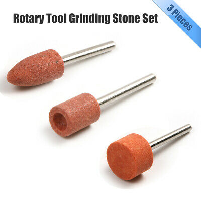 3x ROTARY TOOL GRINDING STONE SET DIY Craft Drill  Bits For Metal Steel Dremel