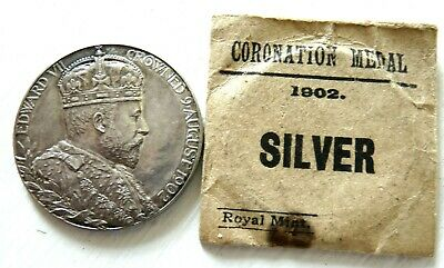 EDWARD V11 SILVER CORONATION 31mm MEDAL 1902 UNC IN ORIGINAL PACKET