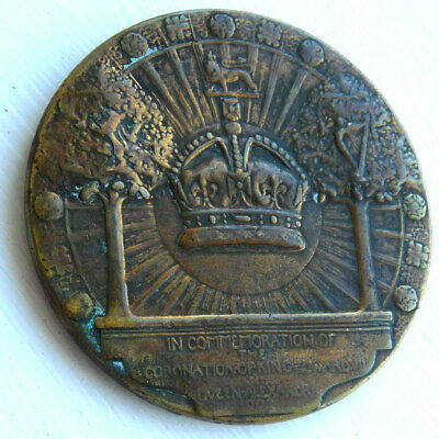 EDWARD V11 CORONATION BRONZE 52mm MEDAL 1902