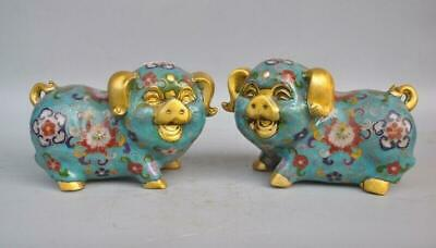 China bronze Cloisonne Enamel Feng Shui Fu Pig Animal Wealth Lucky Statue Pair