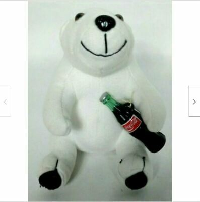 Coca Cola White Polar Bear Plush Holding Coke Bottle Stuffed Animal 1993 7""