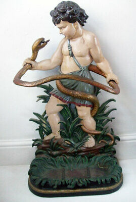 Good Quality & Well Painted Cast Iron Hercules & The Snake Stick Umbrella Stand