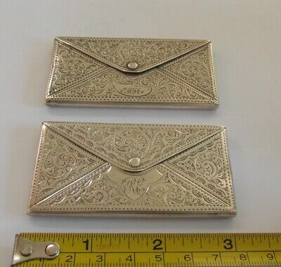 TWO Beautiful  Antique Silver Card Cases Birmingham 1907 & Chester 1908