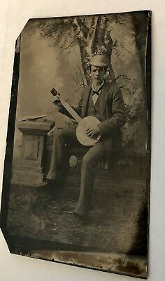 Excellent 1800s Tintype Photo of Banjo Player